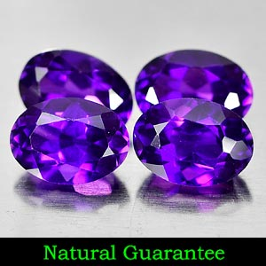 Genuine 100% Natural Amethyst .76ct 7.1 x 5.2mm (4) Oval VS1 Clarity