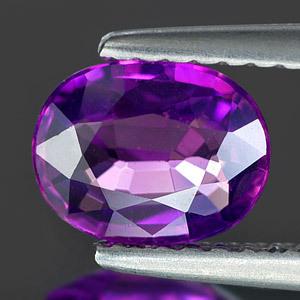 Genuine Purple Sapphire 1.07ct 7.08 x 5.54mm Oval VS1 Clarity (Certified)