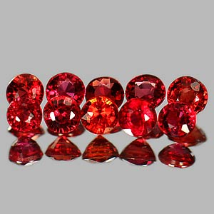 Genuine Red Sapphires 1.12cts (10) 2.8x2.8x2.1 Round VS1 Clarity