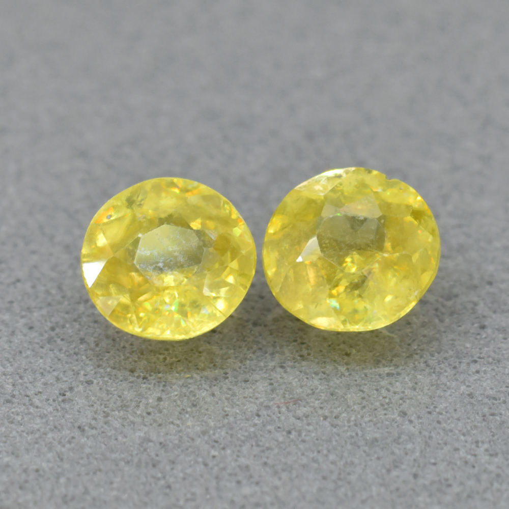 Genuine 100% Natural (2) Sphene 1.12ct 5.0mm & 5.2mm Round Cuts SI1 Clarity