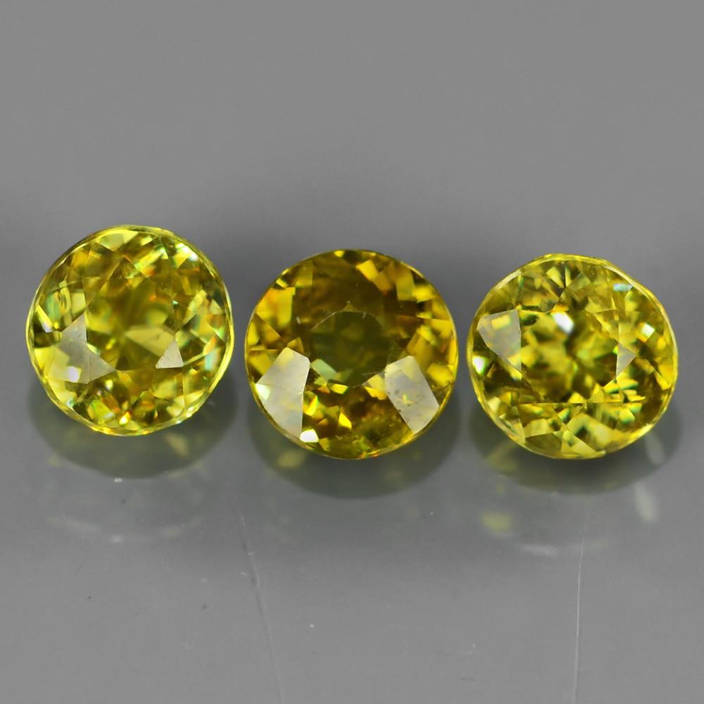 Genuine 100% Natural (3) Sphene 1.27ct 4.5x4.5mm SI1 Madagascar