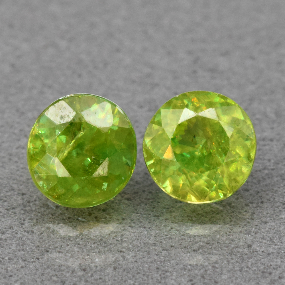 Genuine 100% Natural (2) Sphene 1.41ct 5.0 x 5.0mm Round Cut VS Clarity
