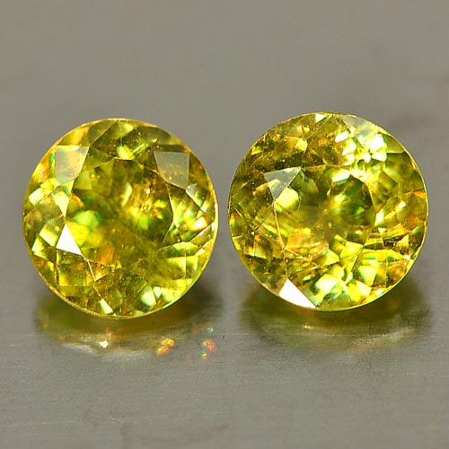 Genuine 100% Natural (2) Sphene 1.42ct 5.5 x 5.5mm SI1 Clarity