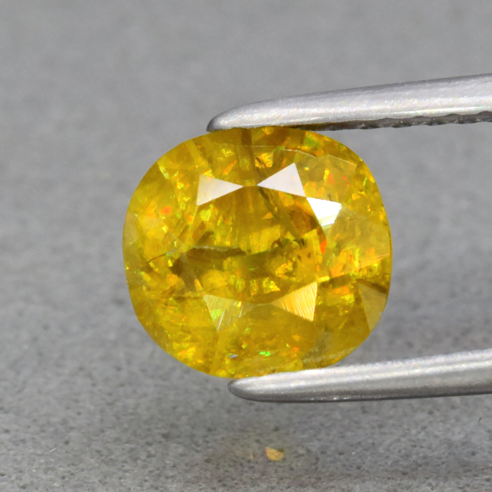 Genuine 100% Natural Sphene 1.58ct 7.0 x 6.5mm Cushion Cut SI1 Clarity