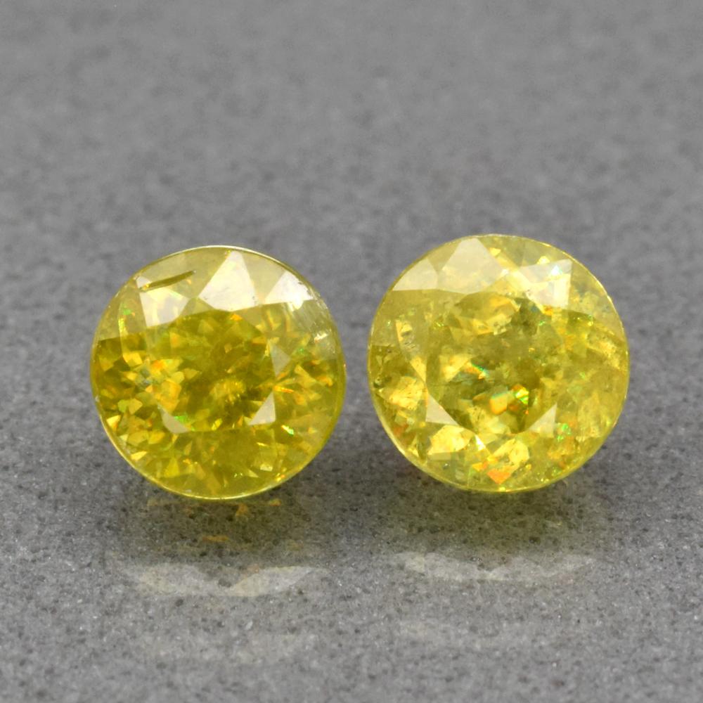 Genuine 100% Natural (2) Sphene 1.66ct 5.0 & 5.2mm Round Cut SI1 Madagascar