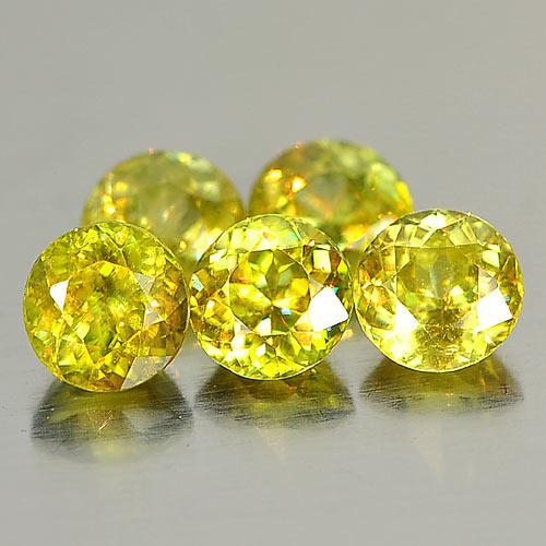 Genuine 100% Natural (5) Sphene 0.54ct 4.9x4.9x3.1mm VS1 Madagascar