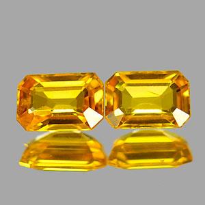 Genuine Yellow Sapphire .74ct 5.4 x 3.7mm Octagon VVS Clarity Pair