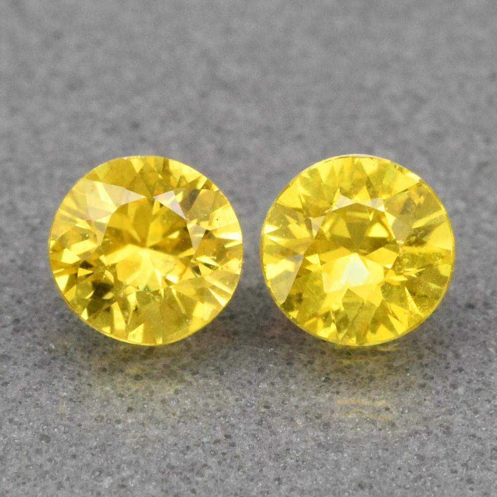 Genuine Yellow Sapphires (2) .46ct 3.8 x 3.8mm Round Cut VS Clarity