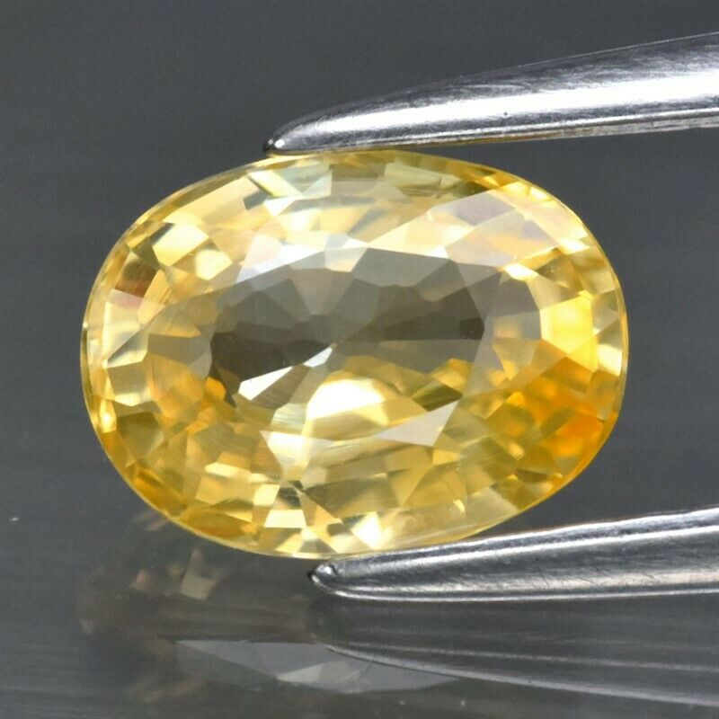 Genuine 100% Natural Yellow Sapphire 1.06ct 6.81 x 5.13mm Oval IF Clarity (Certified)