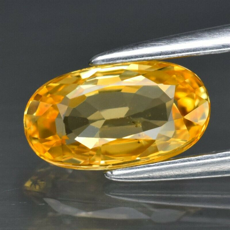 Genuine 100% Natural Yellow Sapphire 1.16ct 7.84 x 4.47mm Oval IF Clarity (Certified)