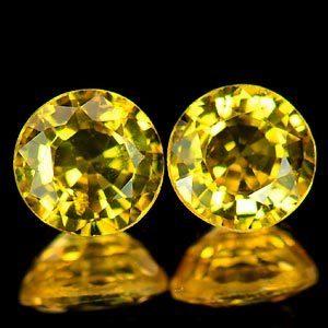 Genuine Yellow Sapphires (2) 1.26ct 5.0 x 5.0 x 3.0mm Round VVS Clarity