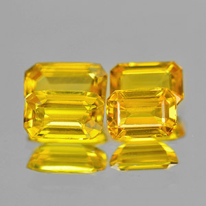 Genuine Yellow Sapphire .42ct 6.0 x 3.5mm Octagon VS1 Clarity (Set of 4)