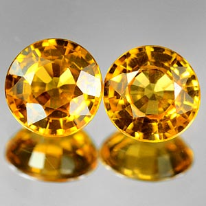 Genuine YELLOW SAPPHIRE (2) .92ct 4.5 x 4.5 x 2.8mm Round Pair
