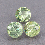 Genuine 100% Natural (3) Demantoid Garnets .89ct 4.0 x 4.0mm Round Cut SI1 Clarity