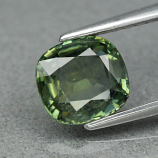Genuine 100% Natural Green Sapphire 1.31ct 6.3 x 6.0mm Cushion Cut SI1 Clarity