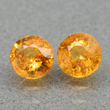 Genuine Orange Sapphires (2) 1.12ct 4.5 x 4.5mm Round Cut SI1 Clarity