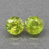 Genuine 100% Natural (2) Sphene 1.17ct 5.0 x 5.0mm Round Cut VS Clarity