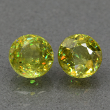 Genuine 100% Natural (2) Sphene 1.46ct 5.0 x 5.0mm Round Cut SI1 Clarity