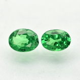 Genuine 100% Natural Tsavorite Garnets (2) .36ct 4.0 x 3.0mm Ovals SI1 Clarity