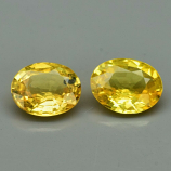 Genuine Yellow Sapphires Pair (2) 0.61ct 4.6 x 3.8mm Oval VS Clarity