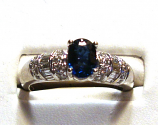 Blue Sapphire 1.02ct 14k White Gold Engagement Ring 1/2cts of Diamonds Size 7.00