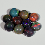 Genuine Set of 10 Crystal Welo Cabochon Black Opal 6.03ct 5.8 to 6.0mm Round