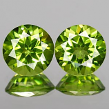 Genuine 100% Natural PERIDOT 2.74cts 7.0 x 7.0 x 4.4mm Round Pair