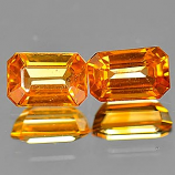 Genuine Orange Sapphire .50ct 5.6 x 3.8mm Octagon VVS Clarity