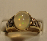 Opal And Diamond Gold Ring 2.75ct 14k Yellow Gold Size 7.0