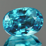 Genuine 100% Natural Blue Zircon 1.27ct 6.9 x 4.9mm Cambodia VVS