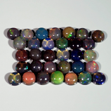 Genuine Set of 32 Crystal Welo Cabochon Black Opal 6.03ct 3.8 to 4.0mm Round Ethiopia