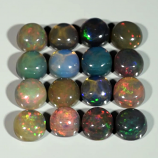 Genuine Set of 16 Crystal Welo Cabochon Black Opal 6.04ct 4.8 to 5.0mm Round