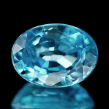 Genuine 100% Natural Blue Zircon 1.42ct 7.0 x 5.2mm Cambodia VS1
