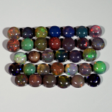 Genuine Set of 33 Crystal Welo Cabochon Black Opal 6.04ct 3.8 to 4.0mm Round Ethiopia