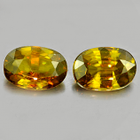 Genuine 100% Natural (2) Sphene 0.63ct 6.5x4.5x2.4mm VS1 Madagascar