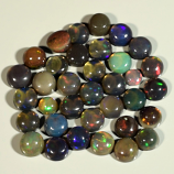 Genuine Set of 35 Crystal Welo Cabochon Black Opal 6.01ct 3.0 to 4.2mm Round