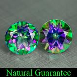 Genuine Mystic Green Topaz (2) 2.13ct 6.0 x 6.0mm Brazil VS1