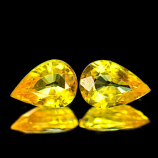 Genuine Yellow Sapphire Pair 1.59ct 6.9 x 4.8mm Pear VVS Clarity