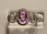 Purple/Pink Sapphire Ring 0.90ct 14K White Gold Size 7.0