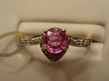Hot Pink Sapphire Gold Ring 0.57ct 18K Yellow Gold Size 7 (Certified)