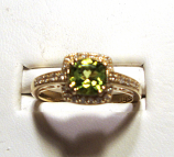 Peridot & Diamond Gold Ring 0.91Ct 14K Yellow Gold Size 7.0