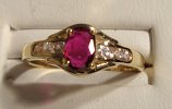 Ruby Gold Ring 100% Natural 14K Yellow Gold Size 6.25