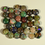 Genuine Set of 32 Crystal Welo Cabochon Black Opal 6.00ct 3.8 to 4.0mm Round