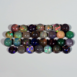 Genuine 100% Natural Cabochon Crystal Welo Black Opals (30) 6.05cts 3.8mm to 4.0mm