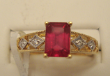 Ruby Gold Ring 1.30ct 18K Yellow Gold Size 7.0 (Certified)
