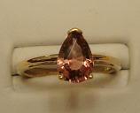 Pink Tourmaline Gold Ring 1.36ct 14K Yellow Gold Size 6.75