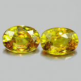 Genuine 100% Natural (2) Sphene 0.70ct 6.5x4.7x3.2mm VS1 Madagascar