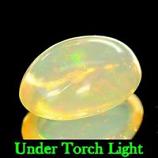 Genuine 100% Natural Cabochon White Opal 1.20ct 9.1x6.6x4.1mm Semi Transparent Ethiopia