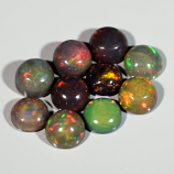 Genuine Set of 10 Crystal Welo Cabochon Black Opal 6.00ct 5.8 to 6.0mm Round
