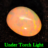 Genuine 100% Natural Play of Colour Opal .83ct 8.0x6.0x3.9mm Semi-Transparent Ethiopia